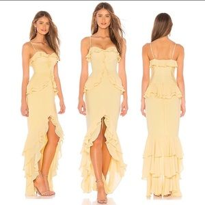 Lovers + Friends Melissa Gown in Cream Yellow